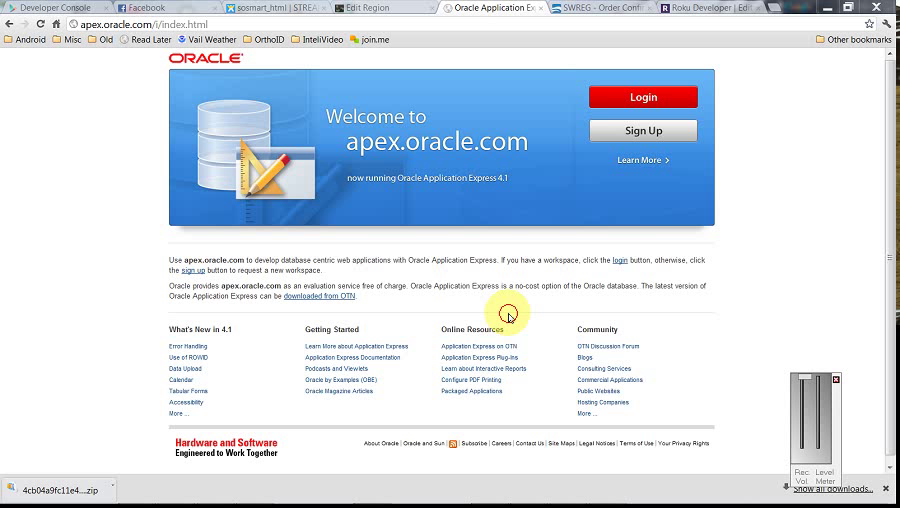 ApEx - Creating apex.oracle.com Workspace by BDB Software